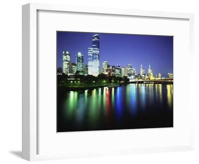 Melbourne Skyline at Night-Design Pics Inc-Framed Photographic Print