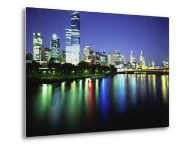 Melbourne Skyline at Night-Design Pics Inc-Metal Print