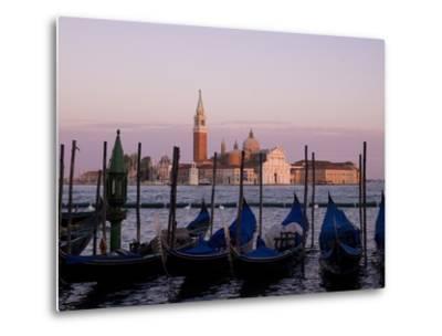 Gondolas on Canal, Church of St. Giorgio Maggiore in Background; Grand Canal, Venice, Italy-Design Pics Inc-Metal Print