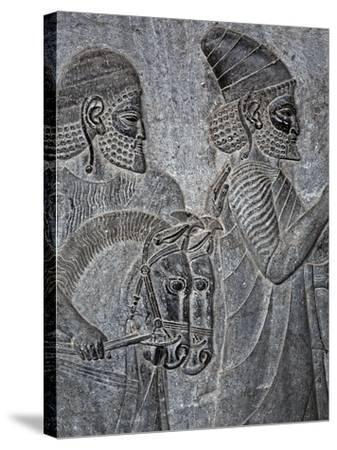 Bas-Reliefs on the Great Staircase of Apadana Palace, Persepolis-Babak Tafreshi-Stretched Canvas Print