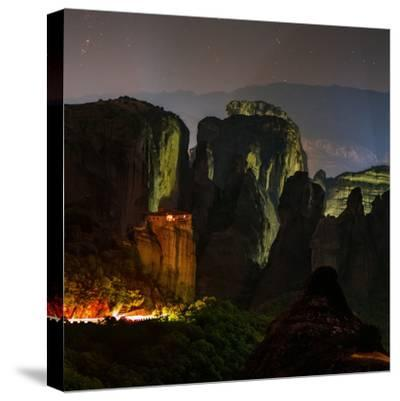 Light Shines on a Monastery Perched on a Sandstone Cliff-Babak Tafreshi-Stretched Canvas Print