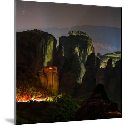 Light Shines on a Monastery Perched on a Sandstone Cliff-Babak Tafreshi-Mounted Photographic Print