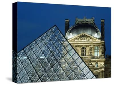 Detail of the Glass Pyramid Outside the Louvre Museum at Dusk-Design Pics Inc-Stretched Canvas Print