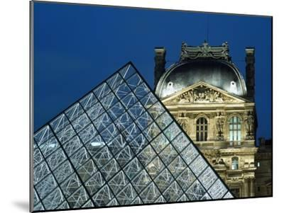 Detail of the Glass Pyramid Outside the Louvre Museum at Dusk-Design Pics Inc-Mounted Photographic Print