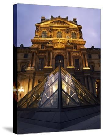 Small Glass Pyramid Outside the Louvre Museum at Dusk-Design Pics Inc-Stretched Canvas Print