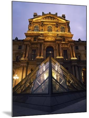 Small Glass Pyramid Outside the Louvre Museum at Dusk-Design Pics Inc-Mounted Photographic Print