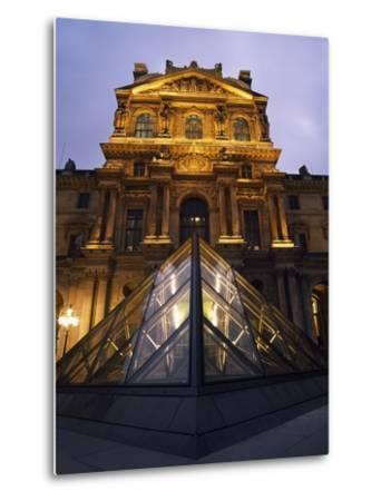 Small Glass Pyramid Outside the Louvre Museum at Dusk-Design Pics Inc-Metal Print