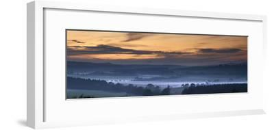 Fog Lies over a Town at Sunset; Swarland, Northumberland, England-Design Pics Inc-Framed Photographic Print