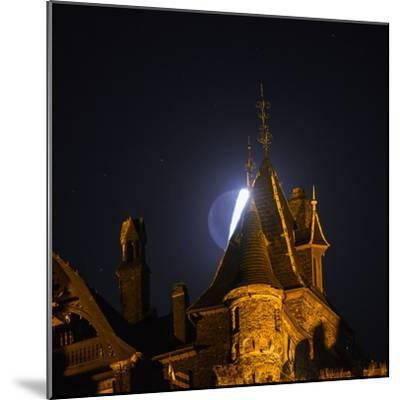 The Moon, Illuminated Sunlight Reflected on Earth's Surface, Behind the Imperial Castle of Cochem-Babak Tafreshi-Mounted Photographic Print