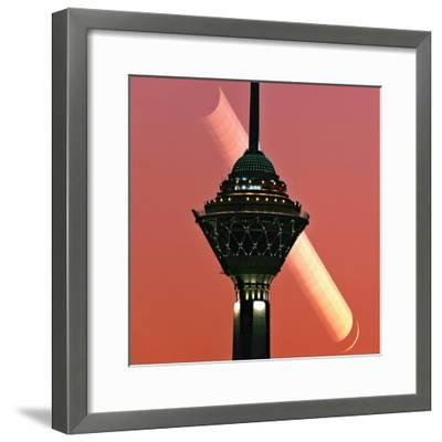 The New Moon Sets in the Early Evening Sky of Tehran-Babak Tafreshi-Framed Photographic Print