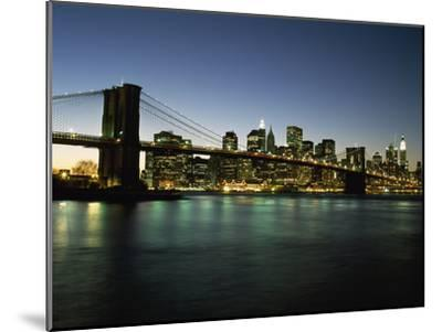 Looking across the East River and the Brooklyn Bridge to the Financial District at Dusk-Design Pics Inc-Mounted Photographic Print