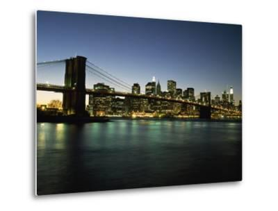 Looking across the East River and the Brooklyn Bridge to the Financial District at Dusk-Design Pics Inc-Metal Print