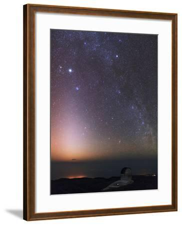 The Milky Way, Cassiopeia, Perseus, the Andromeda Galaxy, and Zodiacal Light over an Observatory-Babak Tafreshi-Framed Photographic Print