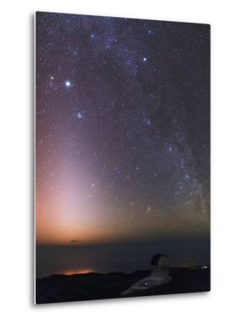 The Milky Way, Cassiopeia, Perseus, the Andromeda Galaxy, and Zodiacal Light over an Observatory-Babak Tafreshi-Metal Print