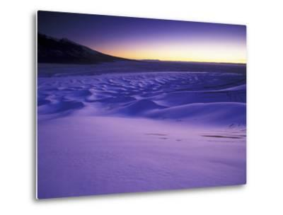 A Rarely Seen View of Snow-Covered Sand Dunes, at Twilight-Keith Ladzinski-Metal Print