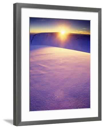 A Rarely Seen View of Snow-Covered Sand Dunes, at Sunset-Keith Ladzinski-Framed Photographic Print