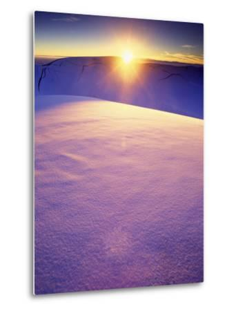 A Rarely Seen View of Snow-Covered Sand Dunes, at Sunset-Keith Ladzinski-Metal Print