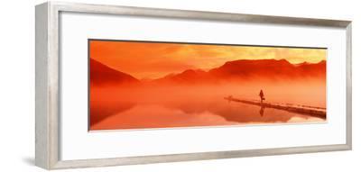 Walking on Dock Robe Lake at Sunrise Sc Ak Chugach Mts Summer Canoe and Flyfishing Gear-Design Pics Inc-Framed Photographic Print