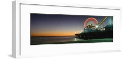 Ferris Wheel and Rollercoaster at Dusk on the Santa Monica Pier-Design Pics Inc-Framed Photographic Print