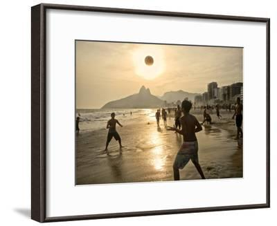 Young Men Play Beach Football on Ipanema Beach as the Sun Sets-Kike Calvo-Framed Premium Photographic Print