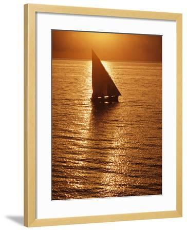 Dhow Heading Out to Sea at Dawn-Design Pics Inc-Framed Photographic Print