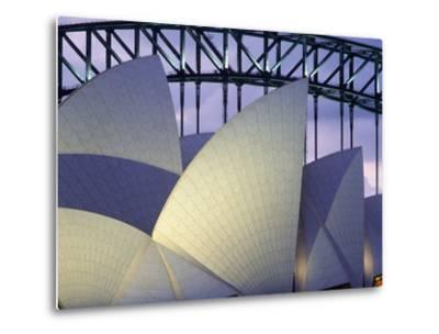 Looking over the Opera House to the Sydney Harbor Bridge, Close Up-Design Pics Inc-Metal Print