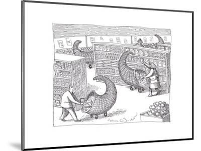 Cornucopia Shoppers - Cartoon-John O'brien-Mounted Premium Giclee Print