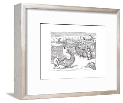 Cornucopia Shoppers - Cartoon-John O'brien-Framed Premium Giclee Print