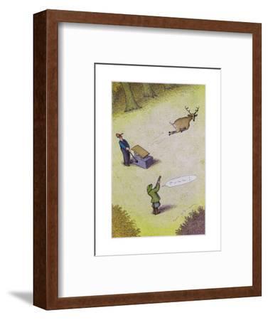 Target practice with a deer - Cartoon-John O'brien-Framed Premium Giclee Print
