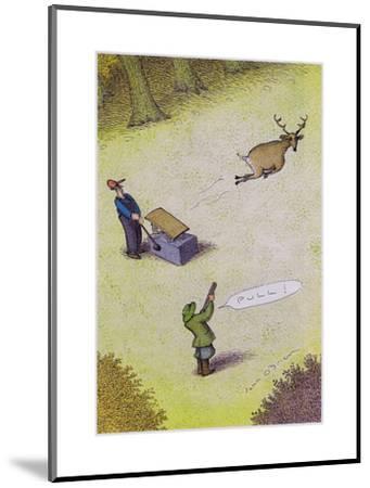 Target practice with a deer - Cartoon-John O'brien-Mounted Premium Giclee Print