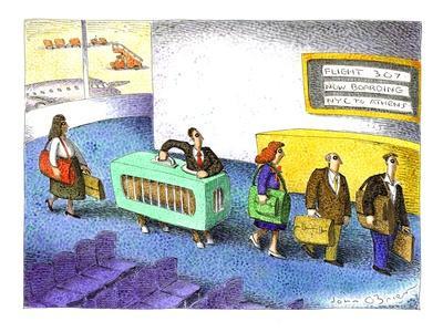 Centaur at airport security - Cartoon-John O'brien-Framed Premium Giclee Print