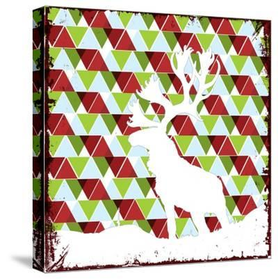 Lodge Christmas Deer--Stretched Canvas Print