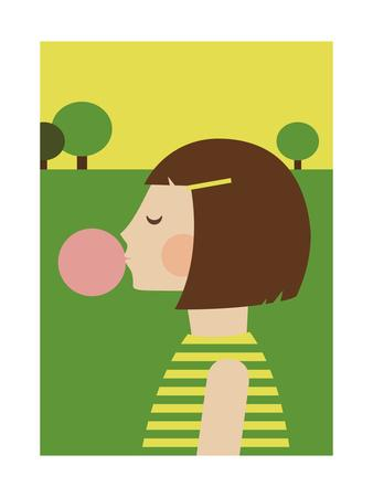 Bubblegum Girl-Dicky Bird-Framed Giclee Print