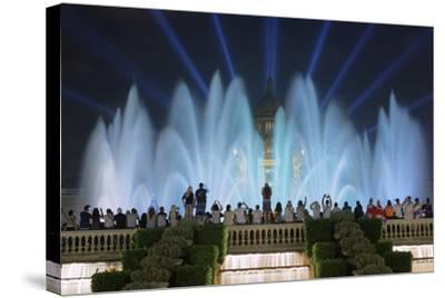 The Magic Fountain Light Show in Front of the National Palace, Barcelona.-Jon Hicks-Stretched Canvas Print