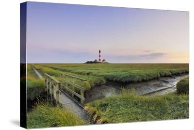 Westerhever Lighthouse, North Sea, Schleswig-Holstein, Westerheversand, Wadden Sea-Herbert Kehrer-Stretched Canvas Print