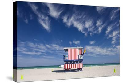 13Th Street Lifeguard Station on Miami Beach-Jon Hicks-Stretched Canvas Print
