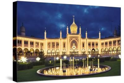 Tivoli Fountain and Main Building at Night-Jon Hicks-Stretched Canvas Print