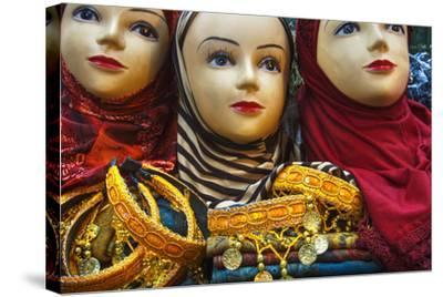 Head Scarves for Sale in the Muslim Quarter-Jon Hicks-Stretched Canvas Print