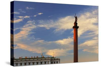 Alexander Column in Palace Square.-Jon Hicks-Stretched Canvas Print