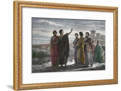 Banishment of Greek Philosopher Aristotle from Athens in 323 BC--Framed Giclee Print