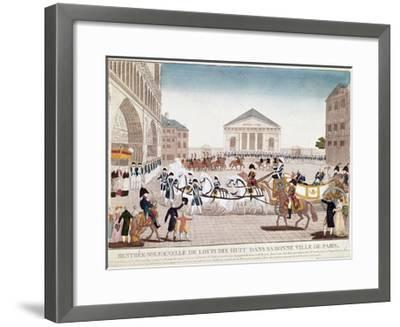 The King Louis XVIII Arriving at Notre Dame, Paris, 3 May 1814--Framed Giclee Print