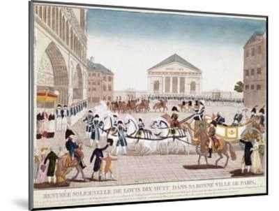 The King Louis XVIII Arriving at Notre Dame, Paris, 3 May 1814--Mounted Giclee Print