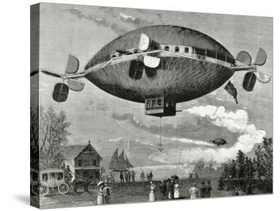 Aerostat. Engraving in the Illustration , 1887.-Tarker-Stretched Canvas Print