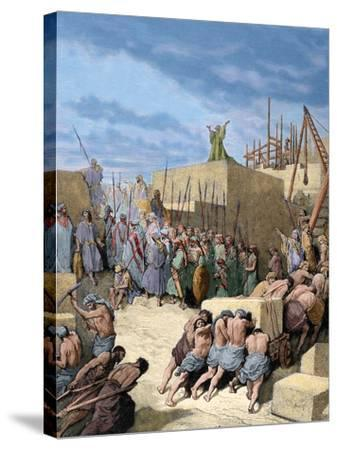 Old Testament. Return from the Babylonian Exile. Reconstruction of the Temple. Engraving. Colored.-Tarker-Stretched Canvas Print