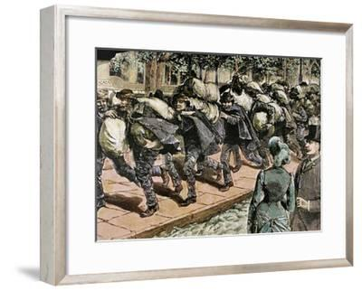 Arrival of Italian Immigrants to New York. 1863. Colored Engraving.-Tarker-Framed Giclee Print
