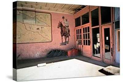 Tire Repair Place with Western Mural, Downtown Las Vegas, New Mexico, Usa, 1979-Alain Le Garsmeur-Stretched Canvas Print
