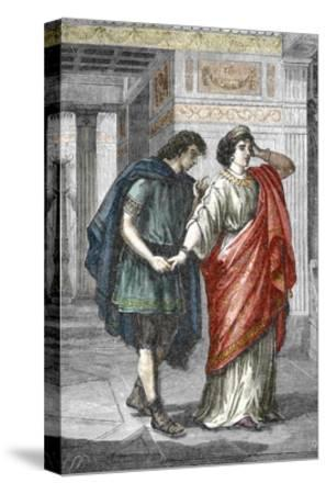 Portrait of Empress Valeria Messalina with Her Lover Gaius Silius, 1St Century--Stretched Canvas Print