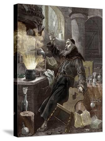 Berthold Schwarz Discovering Gunpowder--Stretched Canvas Print