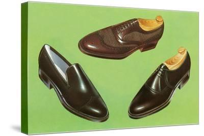 Three Men's Shoes-Found Image Press-Stretched Canvas Print
