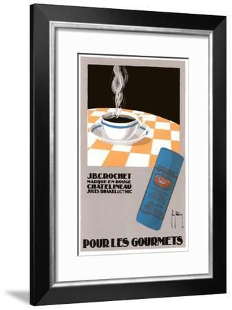 Pour Les Gourmets Coffee, Cup on Tablecloth-Found Image Press-Framed Giclee Print